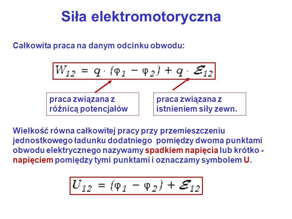 Siła elektromotoryczna Całkowita praca na danym odcinku obwodu: praca związana z różnicą potencjałów praca związana z istnieniem siły zewn. Wielkość r