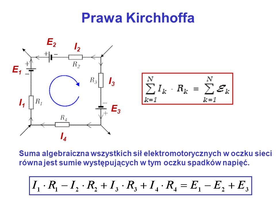 Prawa Kirchhoffa Suma algebraiczna wszystkich sił elektromotorycznych w oczku sieci równa jest sumie występujących w tym oczku spadków napięć. I1I1 I2