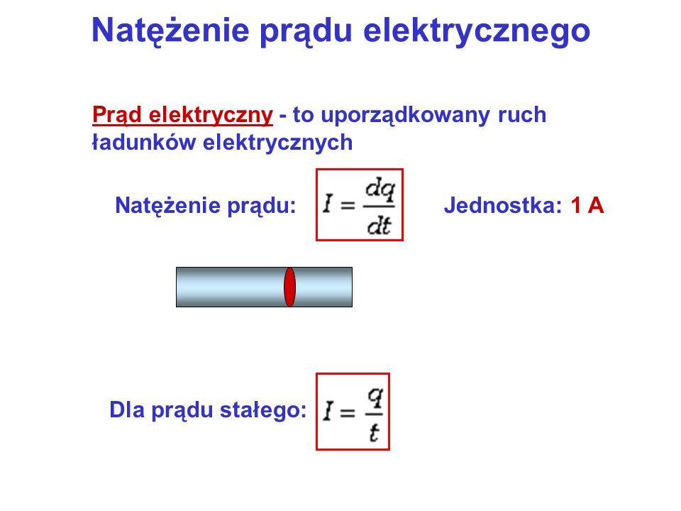 Natężenie prądu elektrycznego Prąd elektryczny - to uporządkowany ruch ładunków elektrycznych Natężenie prądu:Jednostka: 1 ADla prądu stałego: