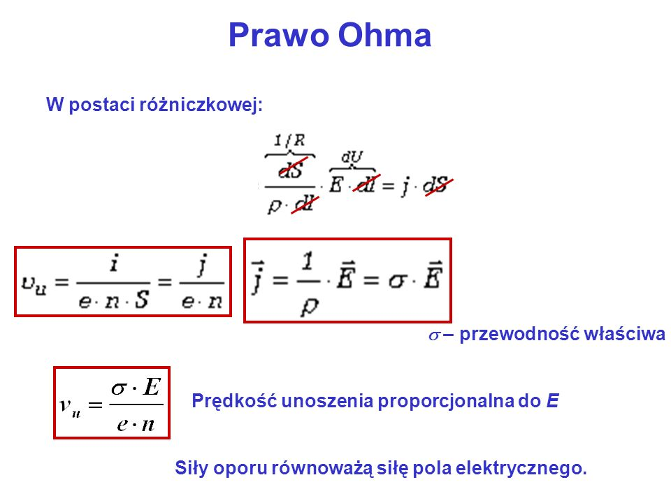 Prawo Ohma W postaci różniczkowej: – przewodność właściwa Prędkość unoszenia proporcjonalna do E Siły oporu równoważą siłę pola elektrycznego.