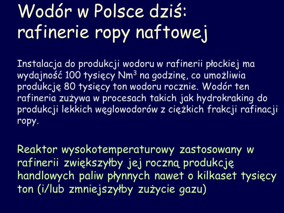 Wodór w Polsce dziś: rafinerie ropy naftowej Instalacja do produkcji wodoru w rafinerii płockiej ma wydajność 100 tysięcy Nm 3 na godzinę, co umożliwi