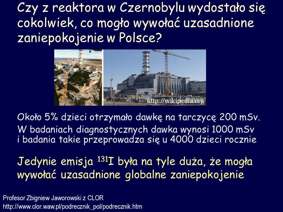 Czy z reaktora w Czernobylu wydostało się cokolwiek, co mogło wywołać uzasadnione zaniepokojenie w Polsce? Jedynie emisja 131 I była na tyle duża, że