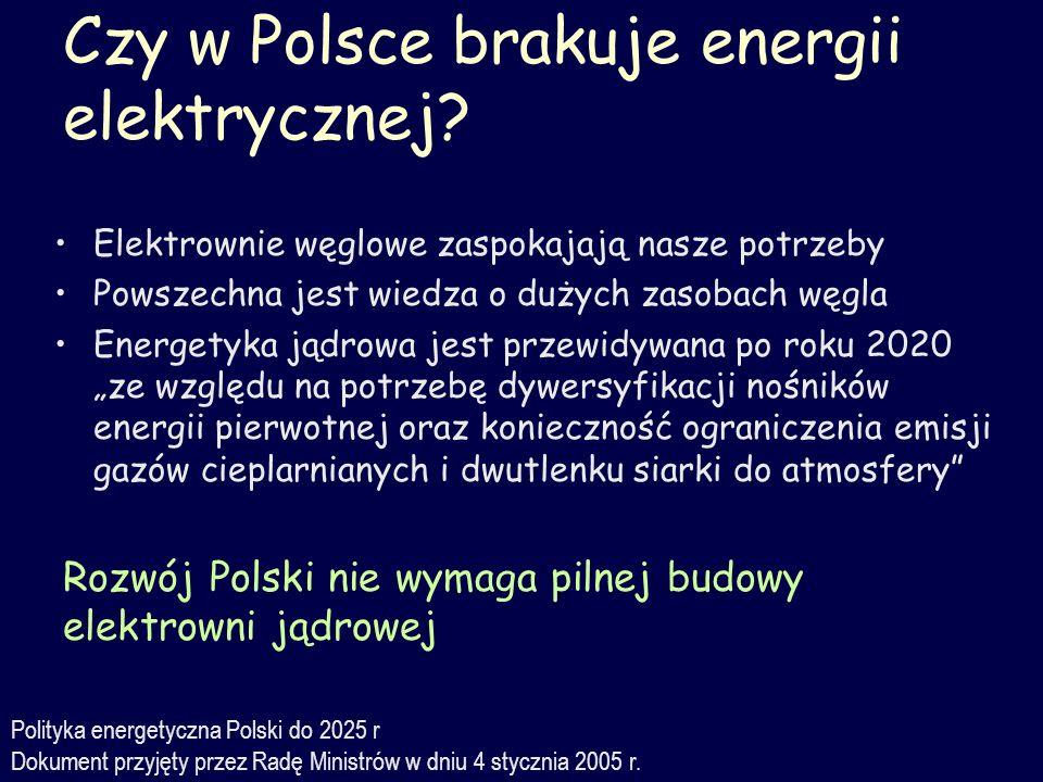 Czy w Polsce brakuje energii elektrycznej? Elektrownie węglowe zaspokajają nasze potrzeby Powszechna jest wiedza o dużych zasobach węgla Energetyka ją