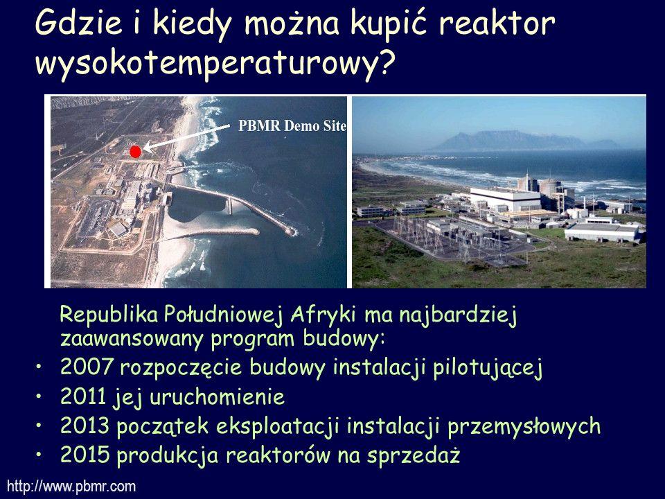 Gdzie i kiedy można kupić reaktor wysokotemperaturowy? Republika Południowej Afryki ma najbardziej zaawansowany program budowy: 2007 rozpoczęcie budow