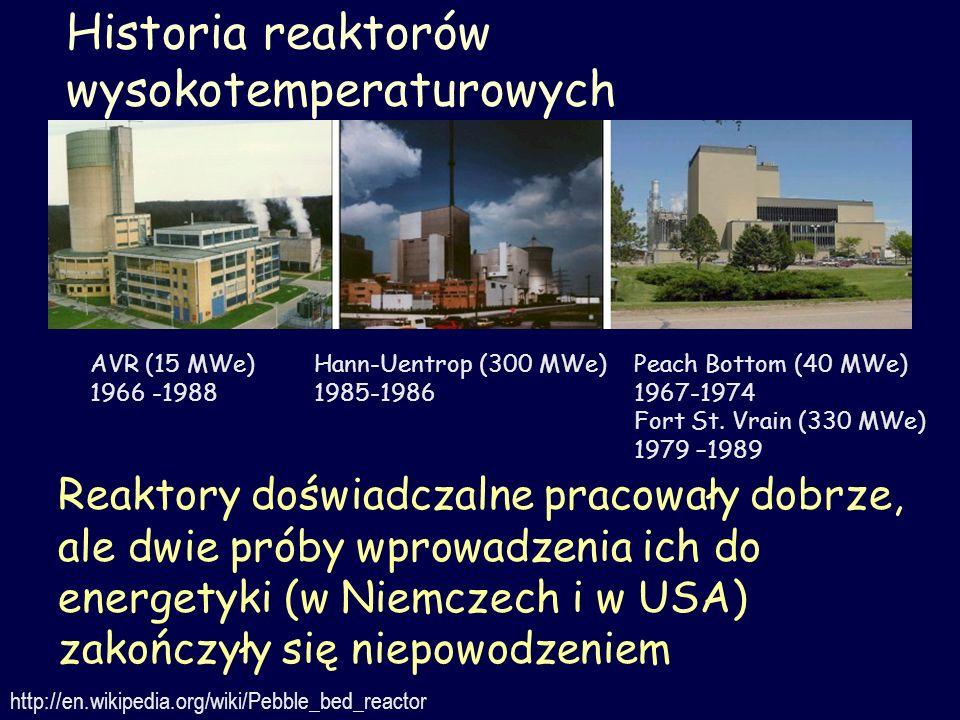 Historia reaktorów wysokotemperaturowych http://en.wikipedia.org/wiki/Pebble_bed_reactor Reaktory doświadczalne pracowały dobrze, ale dwie próby wprow
