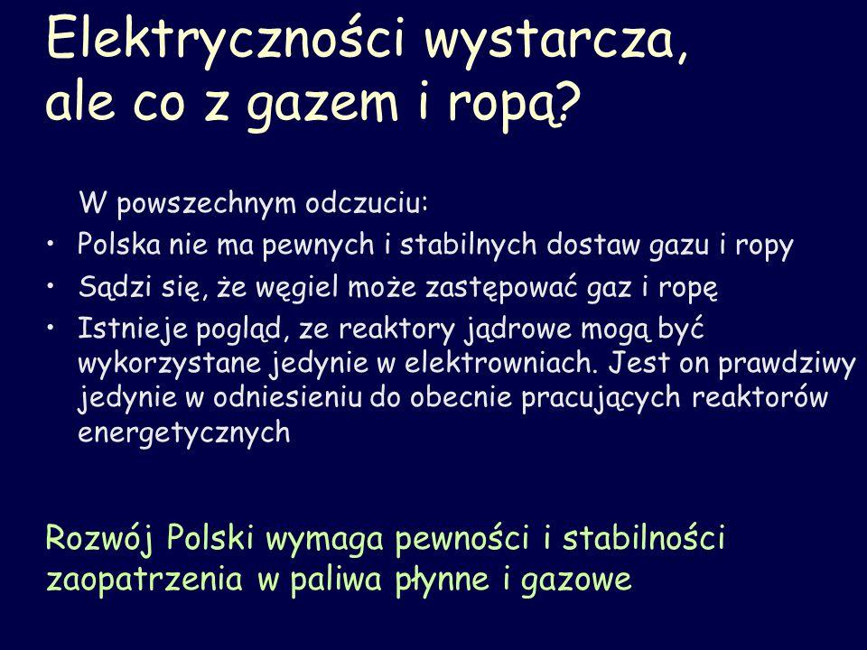 Energia – Nauka - Przyszłość Polska ma duże zasoby węgla, a jednak nie jest wolna od kłopotów energetycznych Duża elektrownia jądrowa będzie konkurencją dla dużej, ekologicznej i ekonomicznej elektrowni węglowej, zagrażając rentowności górnictwa węgla Celem uniknięcia konfliktu społecznego modyfikacja systemu energetycznego powinna uwzględnić zasoby węgla: dać technologiczną szansę dla węgla, albo dać szansę innej pracy dla górników Potrzebne są nowe technologie, w tym reaktory jądrowe IV generacji