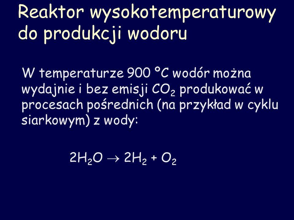 Reaktor wysokotemperaturowy do produkcji wodoru W temperaturze 900 ºC wodór można wydajnie i bez emisji CO 2 produkować w procesach pośrednich (na prz