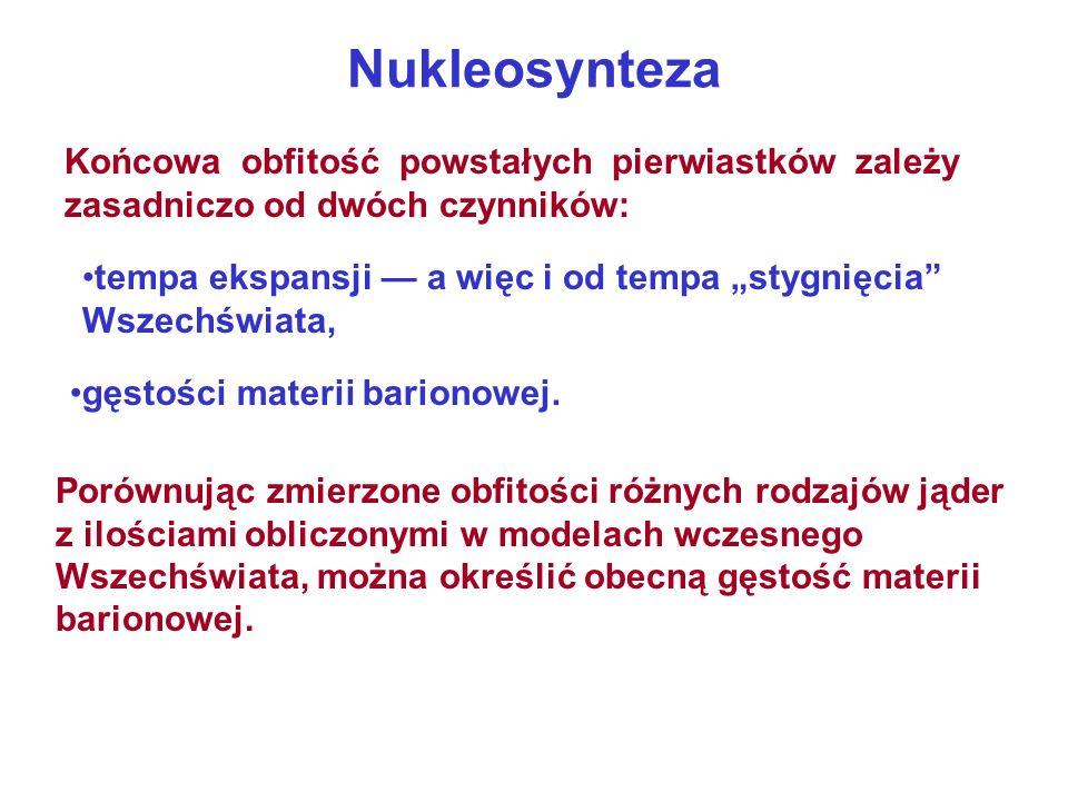 Nukleosynteza Końcowa obfitość powstałych pierwiastków zależy zasadniczo od dwóch czynników: tempa ekspansji a więc i od tempa stygnięcia Wszechświata