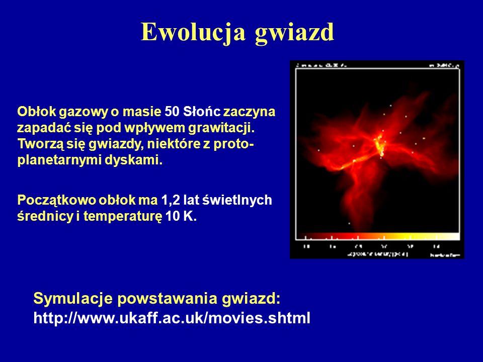 Ewolucja gwiazd Symulacje powstawania gwiazd: http://www.ukaff.ac.uk/movies.shtml Obłok gazowy o masie 50 Słońc zaczyna zapadać się pod wpływem grawit
