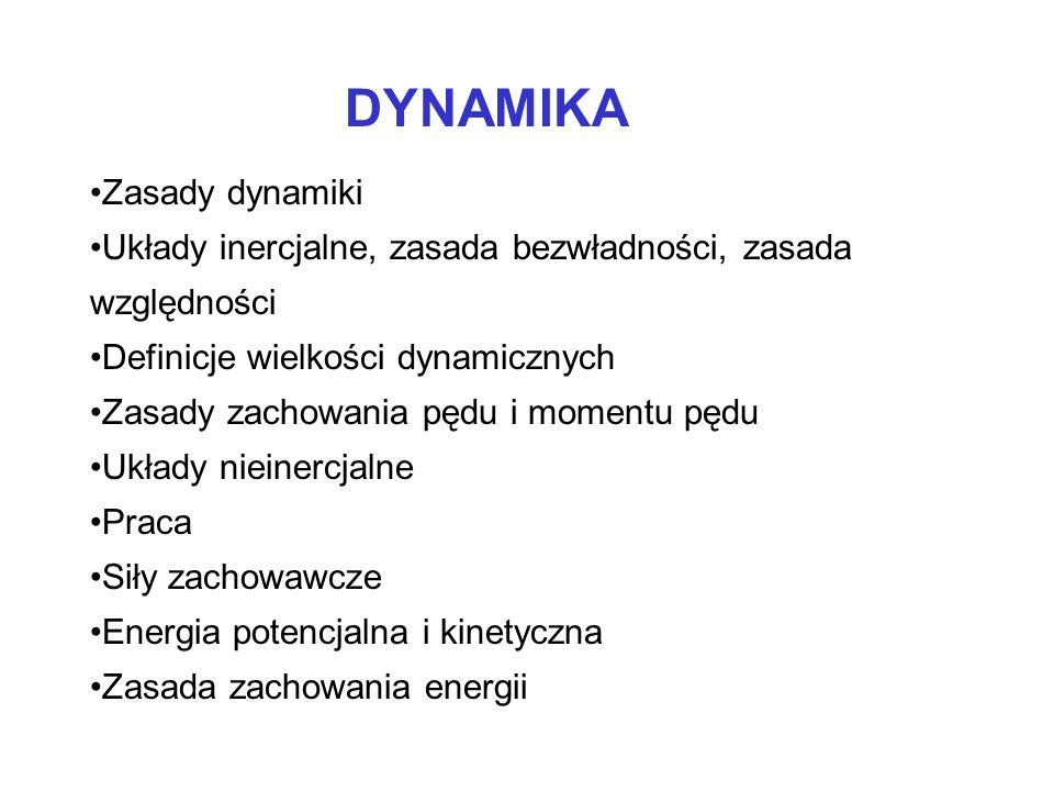 DYNAMIKA Zasady dynamiki Układy inercjalne, zasada bezwładności, zasada względności Definicje wielkości dynamicznych Zasady zachowania pędu i momentu
