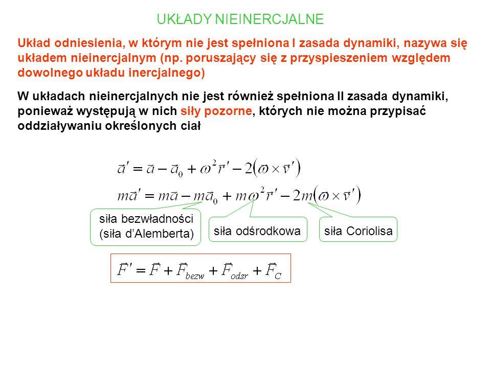 UKŁADY NIEINERCJALNE Układ odniesienia, w którym nie jest spełniona I zasada dynamiki, nazywa się układem nieinercjalnym (np. poruszający się z przysp