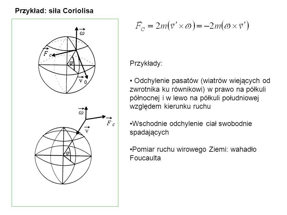 Przykład: siła Coriolisa Przykłady: Odchylenie pasatów (wiatrów wiejących od zwrotnika ku równikowi) w prawo na półkuli północnej i w lewo na półkuli