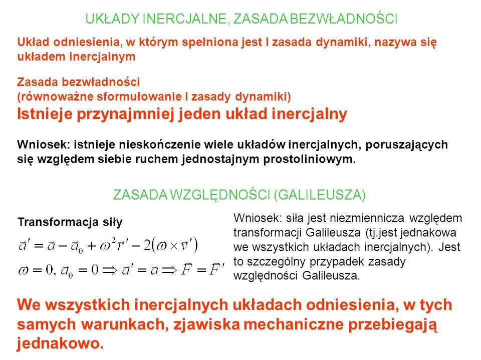 UKŁADY INERCJALNE, ZASADA BEZWŁADNOŚCI Układ odniesienia, w którym spełniona jest I zasada dynamiki, nazywa się układem inercjalnym Zasada bezwładnośc