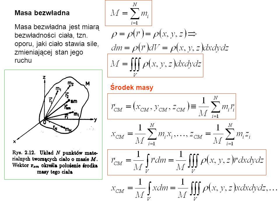 Przykład: energia potencjalna w jednorodym polu sił ciężkości Wartość pracy nie zależy od drogi, tylko od różnicy wysokości h g P=mg F=-P m r dr F dx x dW=Fdr = mgdx x Ogólnie dla przypadku jednowymiarowego
