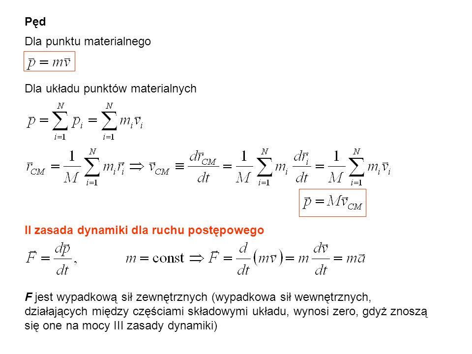 Pęd Dla punktu materialnego Dla układu punktów materialnych II zasada dynamiki dla ruchu postępowego F jest wypadkową sił zewnętrznych (wypadkowa sił