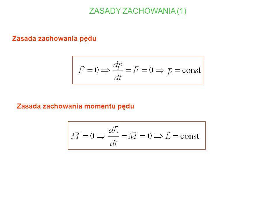 Przykład: precesja bąka Ruch precesyjny: ruch wirowy osi symetrii obracającej się bryły sztywnej wokół kierunku pola grawitacyjnego L - moment pędu bryły sztywnej w ruchu obrotowym wokół osi symetrii I - moment bezwładności bryły sztywnej w ruchu obrotowym wokół osi symetrii - prędkość kątowa bryły sztywnej w ruchu obrotowym wokół osi symetrii p - prędkość kątowa precesji m - masa bryły, g - przyspieszenie ziemskie, R - siła reakcji podłoża oś obrotu przechodzi przez punkt podparcia