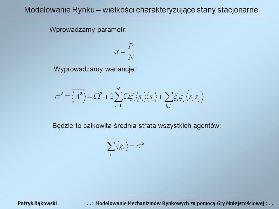 Patryk Bąkowski.. : Modelowanie Mechanizmów Rynkowych za pomocą Gry Mniejszościowej :..