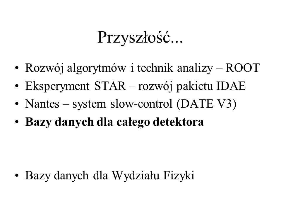 Przyszłość... Rozwój algorytmów i technik analizy – ROOT Eksperyment STAR – rozwój pakietu IDAE Nantes – system slow-control (DATE V3) Bazy danych dla