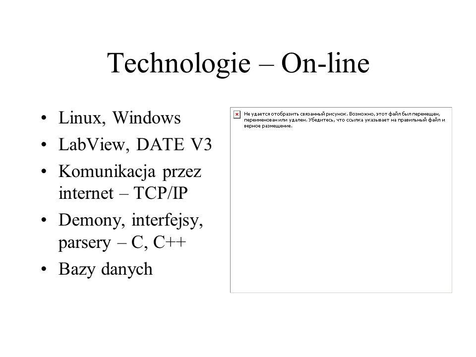 Technologie – On-line Linux, Windows LabView, DATE V3 Komunikacja przez internet – TCP/IP Demony, interfejsy, parsery – C, C++ Bazy danych