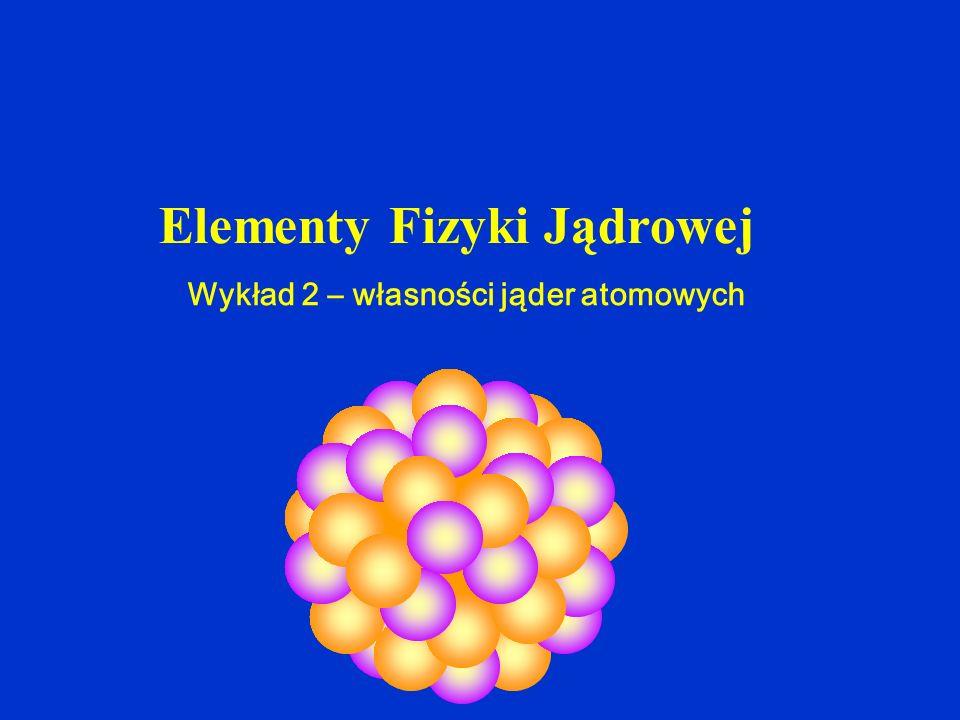 Wykład 2 – własności jąder atomowych Elementy Fizyki Jądrowej