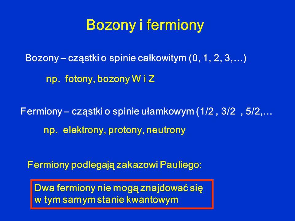Bozony i fermiony Bozony – cząstki o spinie całkowitym (0, 1, 2, 3,…) np. fotony, bozony W i Z Fermiony – cząstki o spinie ułamkowym (1/2, 3/2, 5/2,…
