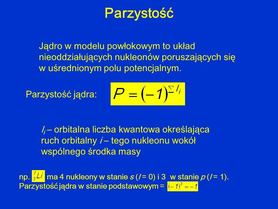 Parzystość Jądro w modelu powłokowym to układ nieoddziałujących nukleonów poruszających się w uśrednionym polu potencjalnym. Parzystość jądra: l i – o