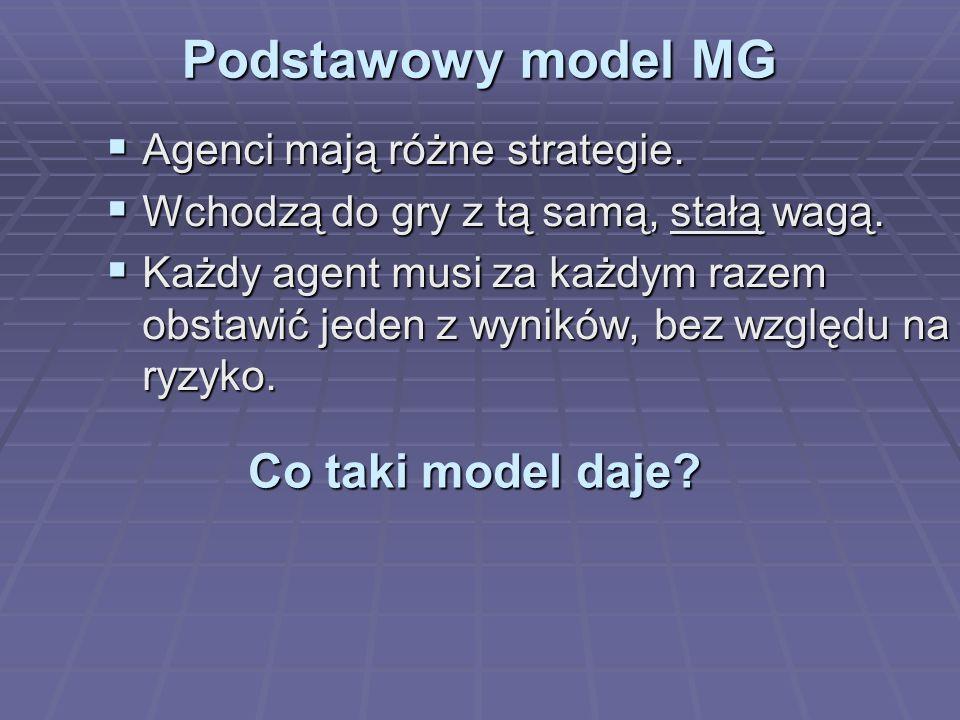 Podstawowy model MG Agenci mają różne strategie. Agenci mają różne strategie.