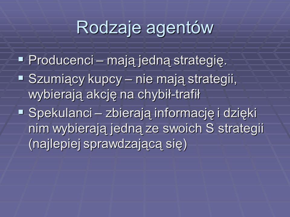 Rodzaje agentów Producenci – mają jedną strategię.
