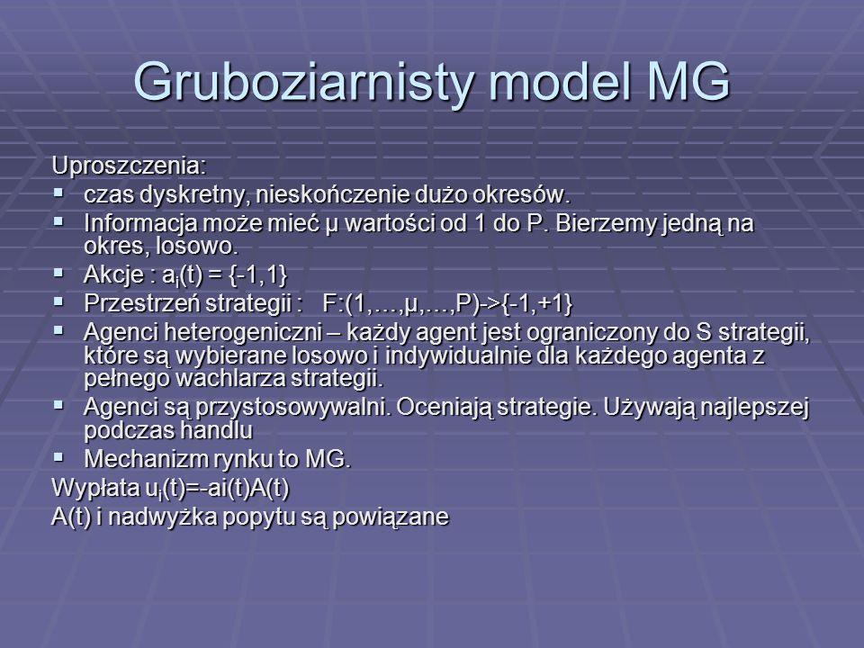 Gruboziarnisty model MG Uproszczenia: czas dyskretny, nieskończenie dużo okresów.