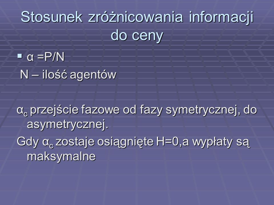 Diagram fazowy dla agentów z różnymi wagami