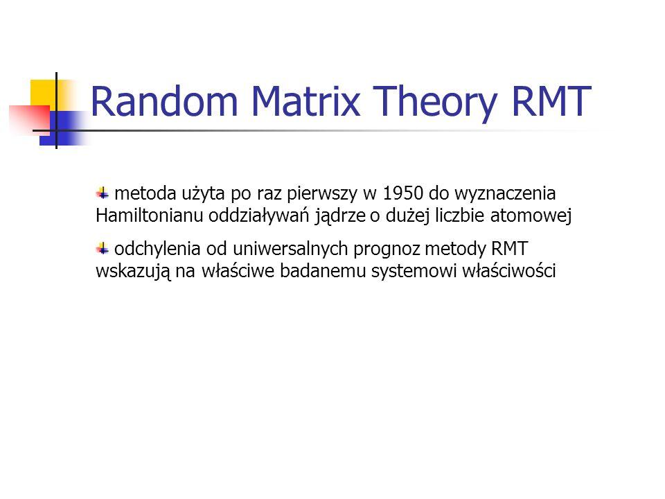 Random Matrix Theory RMT metoda użyta po raz pierwszy w 1950 do wyznaczenia Hamiltonianu oddziaływań jądrze o dużej liczbie atomowej odchylenia od uniwersalnych prognoz metody RMT wskazują na właściwe badanemu systemowi właściwości