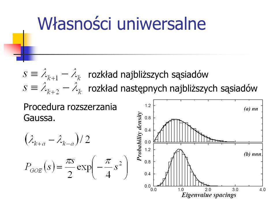 Własności uniwersalne (korelacje długodystansowe) wariancja liczby wartości własnych na odcinku L wokół każdej wartości własnej nieskorelowane ostro skorelowane pośrednio sztywność widma(spectral rigidity), najmniejsze odchylenie standardowe od linii dopasowania
