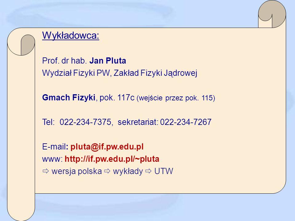 Wykładowca: Prof.dr hab. Jan Pluta Wydział Fizyki PW, Zakład Fizyki Jądrowej Gmach Fizyki, pok.