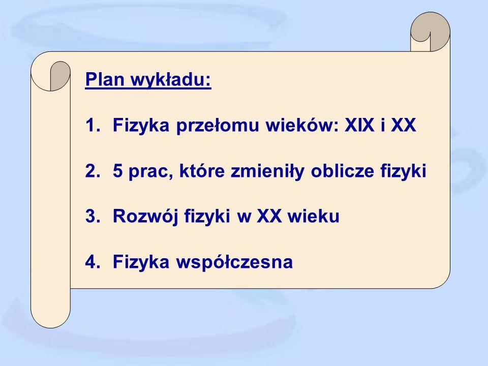 Plan wykładu: 1.Fizyka przełomu wieków: XIX i XX 2.5 prac, które zmieniły oblicze fizyki 3.Rozwój fizyki w XX wieku 4.Fizyka współczesna