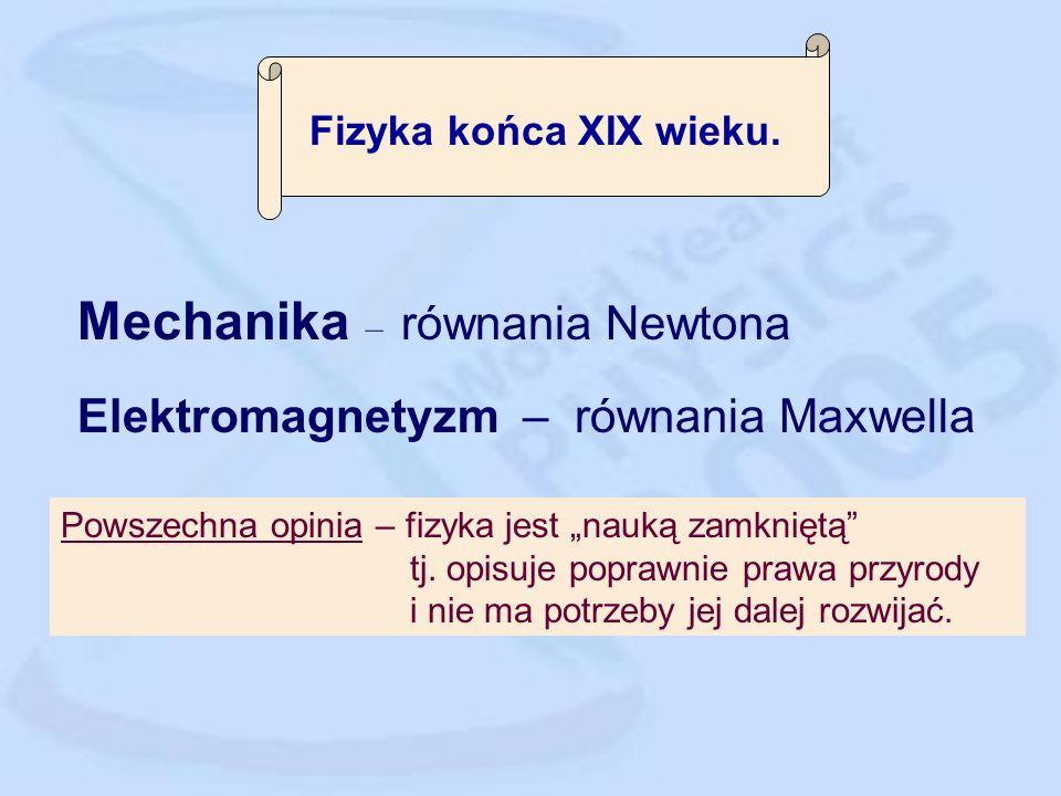 Mechanika – równania Newtona Elektromagnetyzm – równania Maxwella Powszechna opinia – fizyka jest nauką zamkniętą tj.
