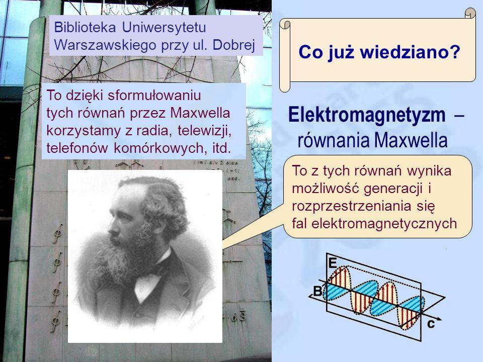 Co już wiedziano? Mechanika – równania Newtona Wzór ten opisuje wszelkie ruchy obiektów makroskopowych od piłki na boisku po rakietę w kosmosie. (ale