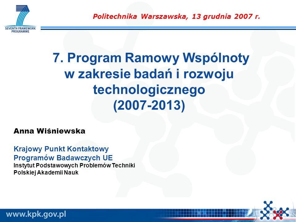 7. Program Ramowy Wspólnoty w zakresie badań i rozwoju technologicznego (2007-2013) Anna Wiśniewska Krajowy Punkt Kontaktowy Programów Badawczych UE I