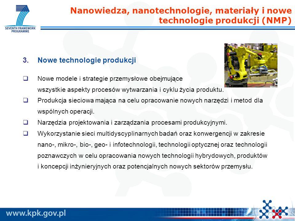 Nanowiedza, nanotechnologie, materiały i nowe technologie produkcji (NMP) 3.Nowe technologie produkcji Nowe modele i strategie przemysłowe obejmujące wszystkie aspekty procesów wytwarzania i cyklu życia produktu.