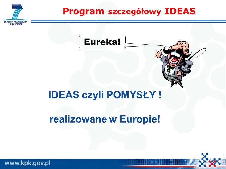 IDEAS czyli POMYSŁY ! realizowane w Europie! Eureka! Program szczegółowy IDEAS