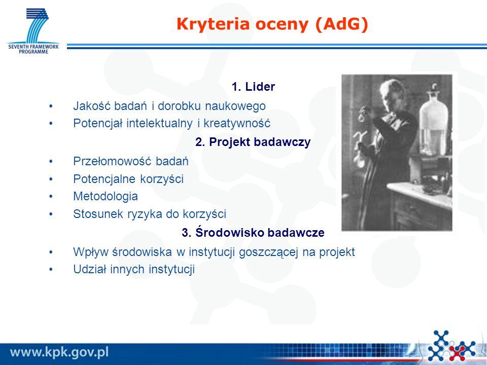 Kryteria oceny (AdG) 1. Lider Jakość badań i dorobku naukowego Potencjał intelektualny i kreatywność 2. Projekt badawczy Przełomowość badań Potencjaln