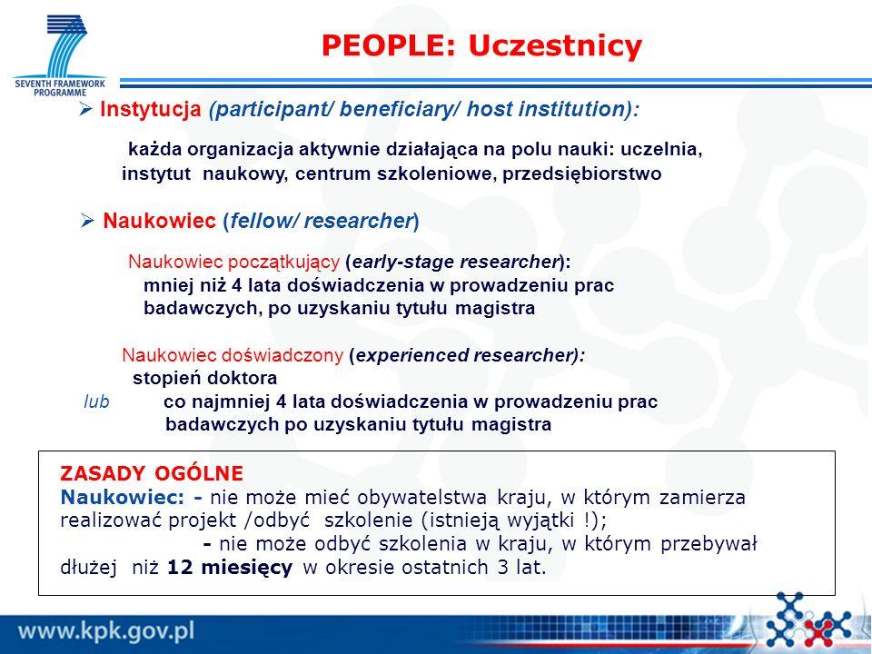 PEOPLE: Uczestnicy Instytucja (participant/ beneficiary/ host institution): każda organizacja aktywnie działająca na polu nauki: uczelnia, instytut na