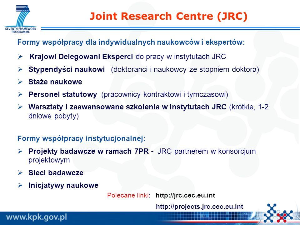Joint Research Centre (JRC) Formy współpracy dla indywidualnych naukowców i ekspertów: Krajowi Delegowani Eksperci do pracy w instytutach JRC Stypendyści naukowi (doktoranci i naukowcy ze stopniem doktora) Staże naukowe Personel statutowy (pracownicy kontraktowi i tymczasowi) Warsztaty i zaawansowane szkolenia w instytutach JRC (krótkie, 1-2 dniowe pobyty) Formy współpracy instytucjonalnej: Projekty badawcze w ramach 7PR - JRC partnerem w konsorcjum projektowym Sieci badawcze Inicjatywy naukowe Polecane linki: http://jrc.cec.eu.int http://projects.jrc.cec.eu.int