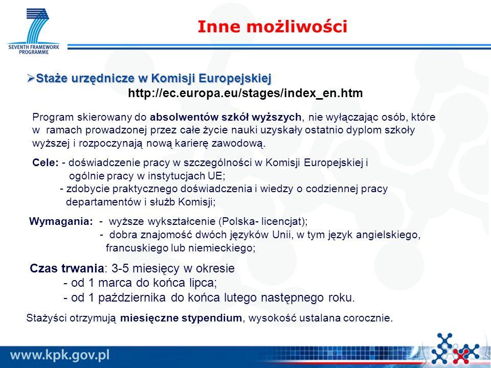 Inne możliwości Staże urzędnicze w Komisji Europejskiej Staże urzędnicze w Komisji Europejskiej http://ec.europa.eu/stages/index_en.htm Program skiero