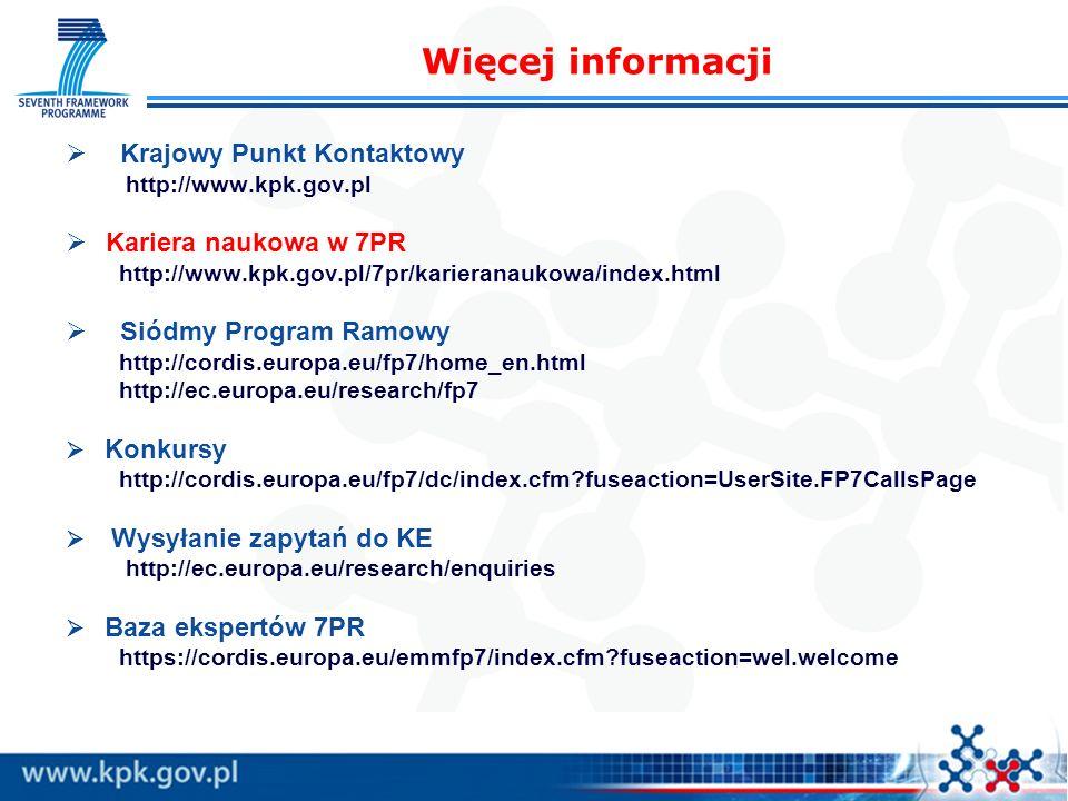 Krajowy Punkt Kontaktowy http://www.kpk.gov.pl Kariera naukowa w 7PR http://www.kpk.gov.pl/7pr/karieranaukowa/index.html Siódmy Program Ramowy http://