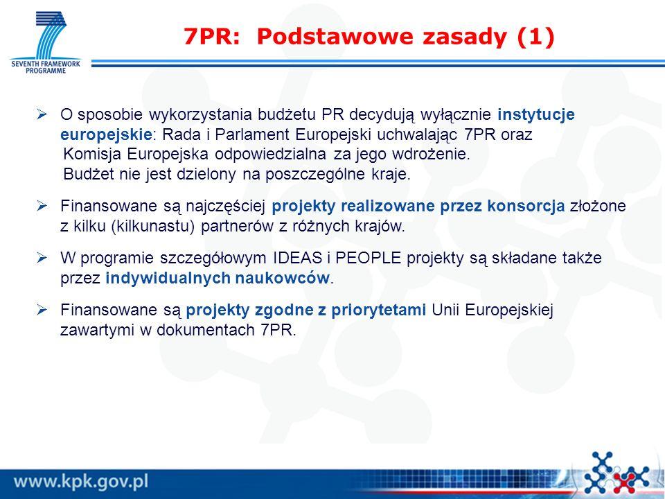 7PR: Podstawowe zasady (1) O sposobie wykorzystania budżetu PR decydują wyłącznie instytucje europejskie: Rada i Parlament Europejski uchwalając 7PR o