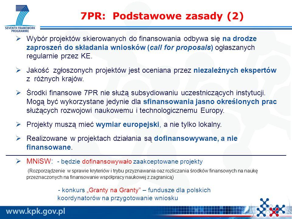 7PR: Podstawowe zasady (2) Wybór projektów skierowanych do finansowania odbywa się na drodze zaproszeń do składania wniosków (call for proposals) ogłaszanych regularnie przez KE.