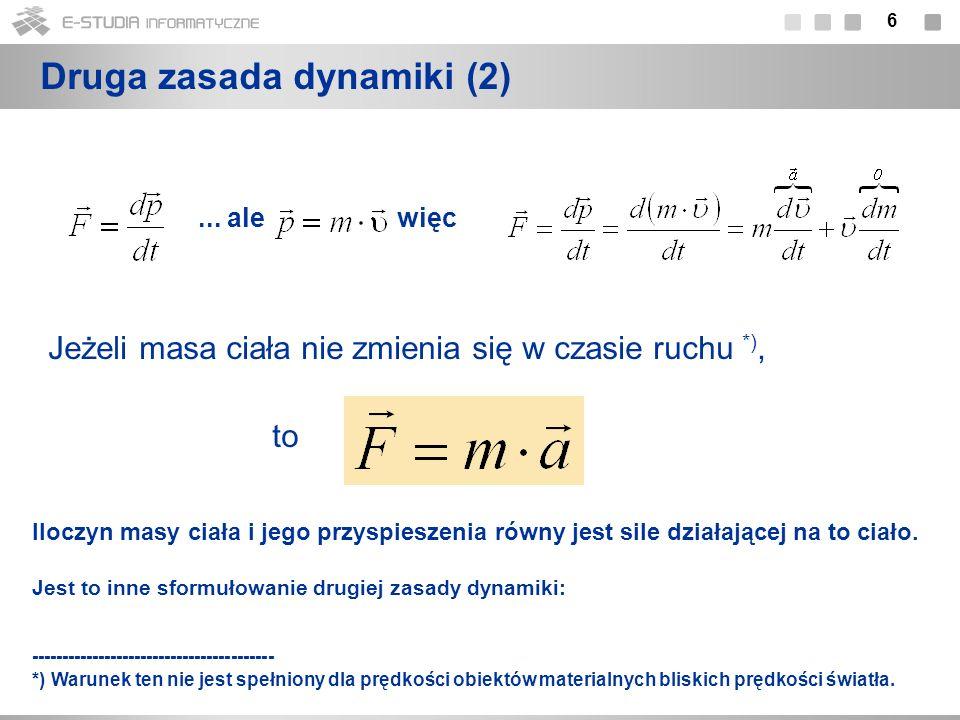 17 Wektor pędu układu punktów materialnych Pędowi jego środka masy Suma pędów układu punktów materialnych = Prędkość środka masy: