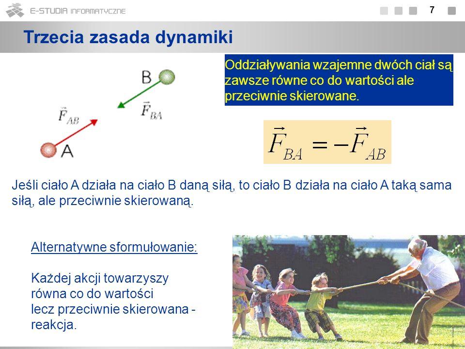 18 Druga zasada dynamiki dla układu punktów materialnych Dla układu N punktów materialnych: Sumujemy stronami:...