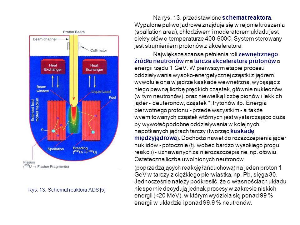 Na rys. 13. przedstawiono schemat reaktora. Wypalone paliwo jądrowe znajduje się w rejonie kruszenia (spallation area), chłodziwem i moderatorem układ