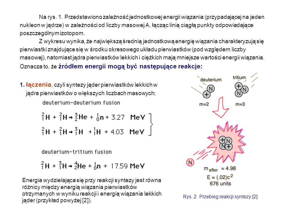 Na rys. 1. Przedstawiono zależność jednostkowej energii wiązania (przypadającej na jeden nukleon w jądrze) w zależności od liczby masowej A, łącząc li